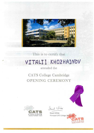 this is to certify that  vitalii khozhainov